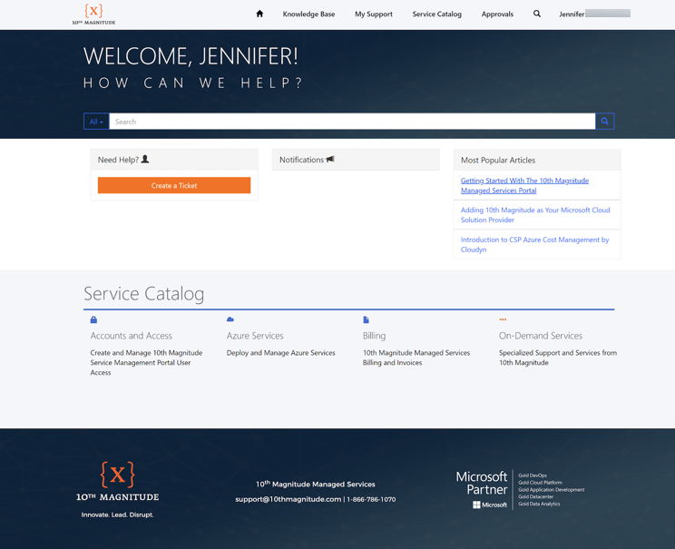 Managed Services Customer Portal