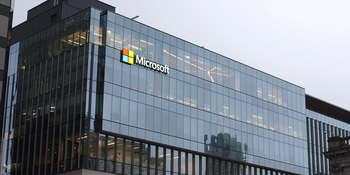 A building with the Microsoft logo.
